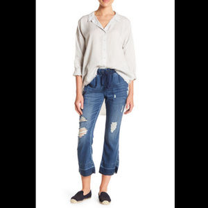 Cloth & Stone Distressed Fit & Flare Cropped Pants